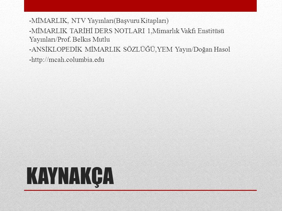 KAYNAKÇA -MİMARLIK, NTV Yayınları(Başvuru Kitapları)