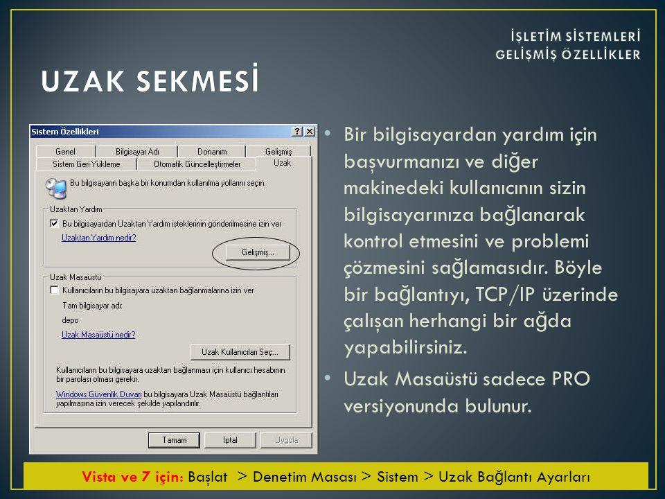 UZAK SEKMESİ İŞLETİM SİSTEMLERİ GELİŞMİŞ ÖZELLİKLER.