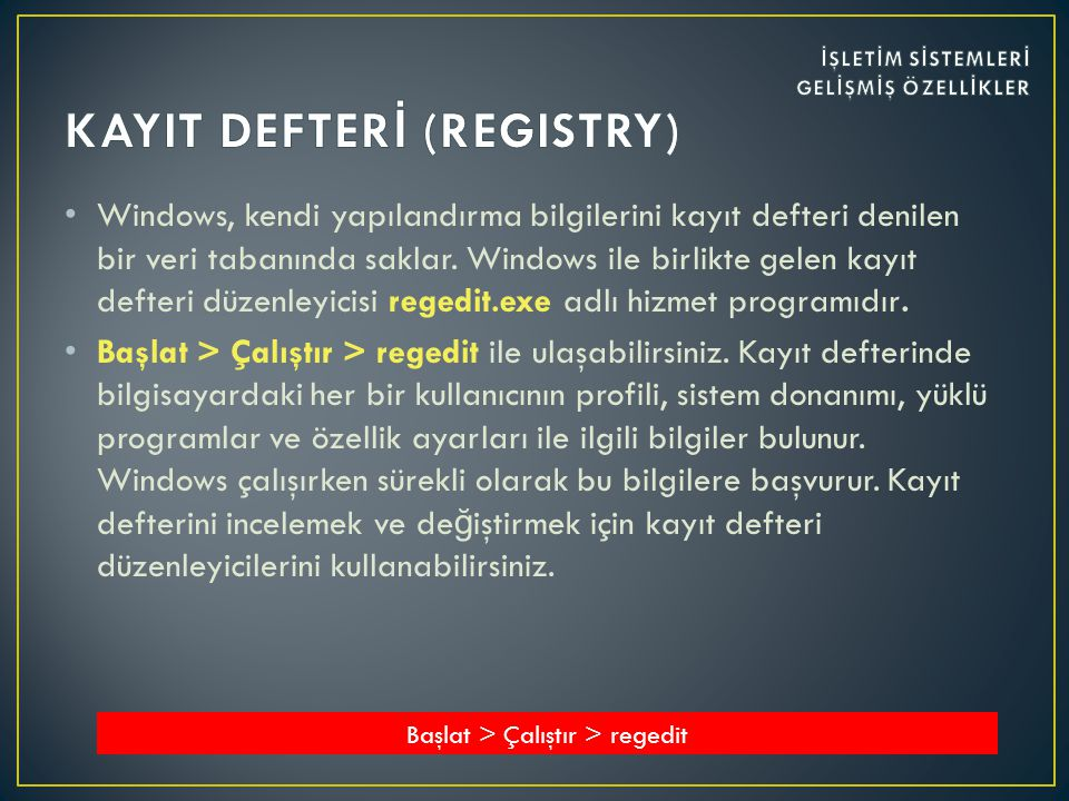 KAYIT DEFTERİ (REGISTRY)