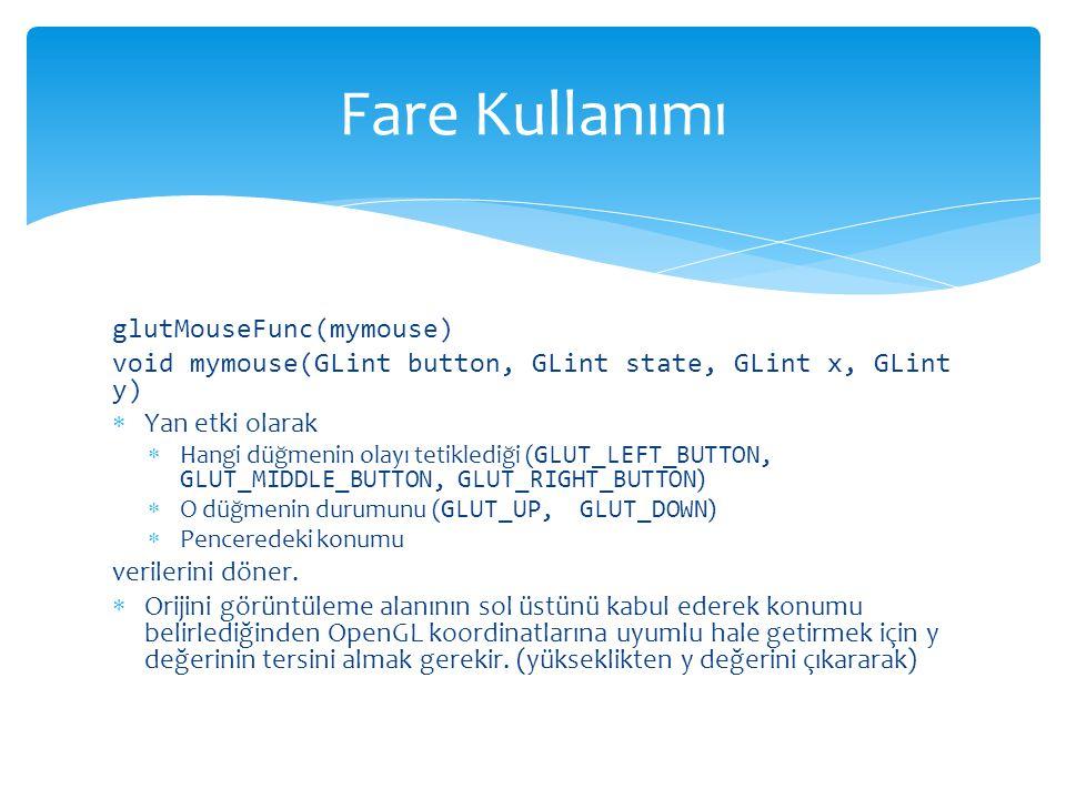 Fare Kullanımı glutMouseFunc(mymouse)