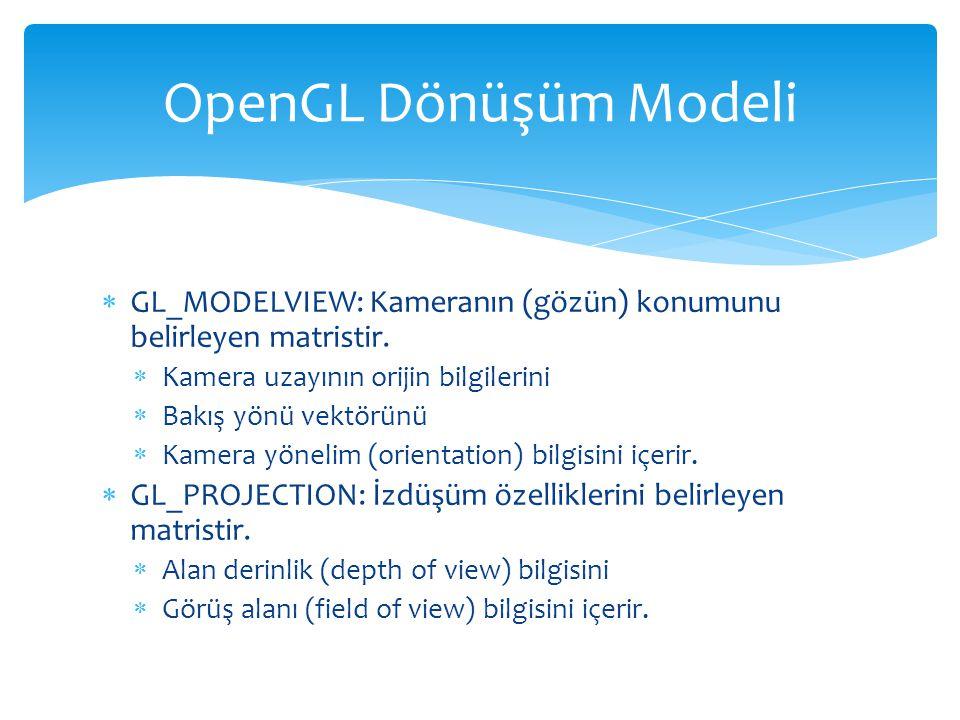 OpenGL Dönüşüm Modeli GL_MODELVIEW: Kameranın (gözün) konumunu belirleyen matristir. Kamera uzayının orijin bilgilerini.