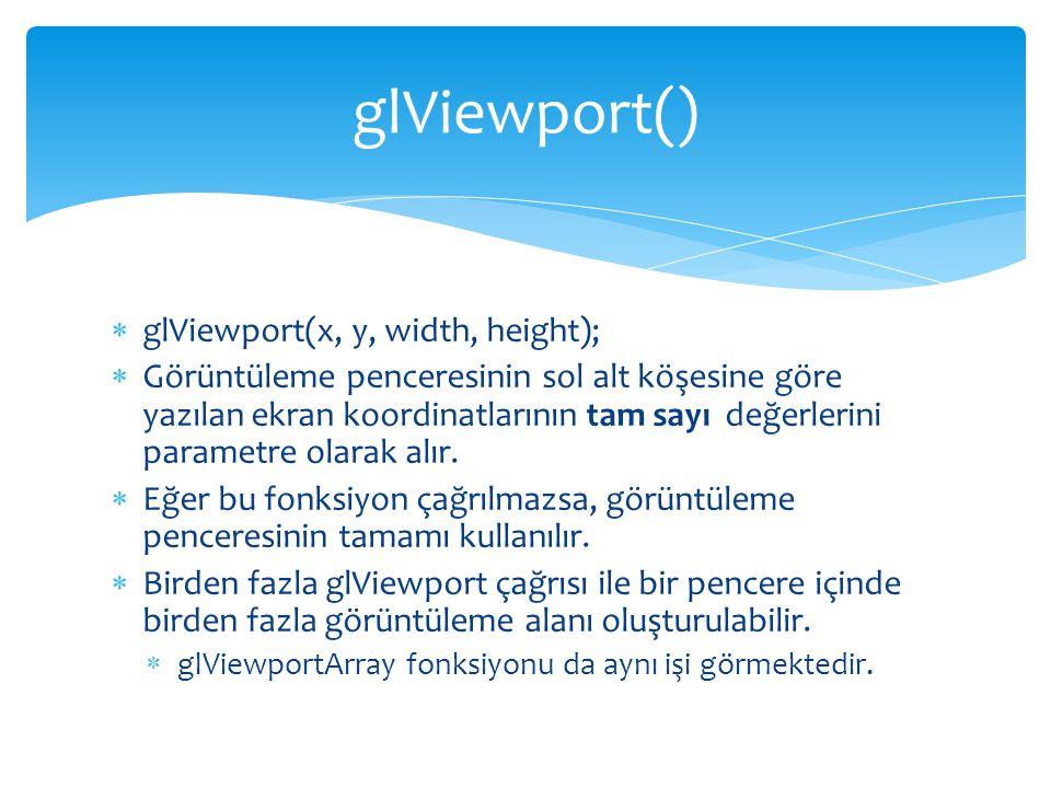 glViewport() glViewport(x, y, width, height);