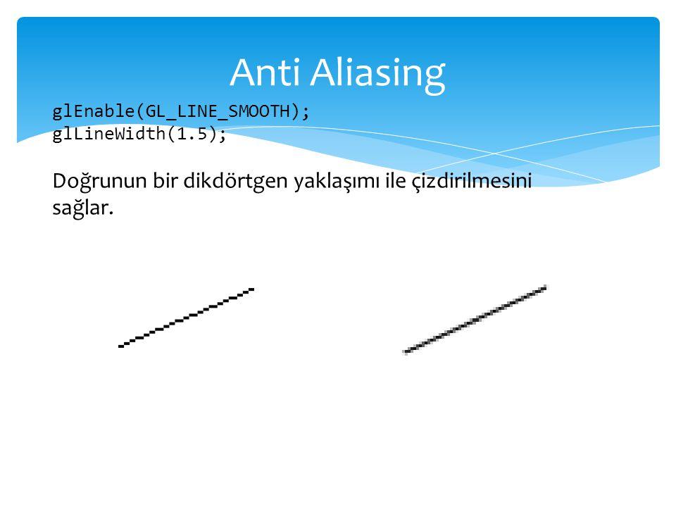 Anti Aliasing glEnable(GL_LINE_SMOOTH); glLineWidth(1.5); Doğrunun bir dikdörtgen yaklaşımı ile çizdirilmesini sağlar.