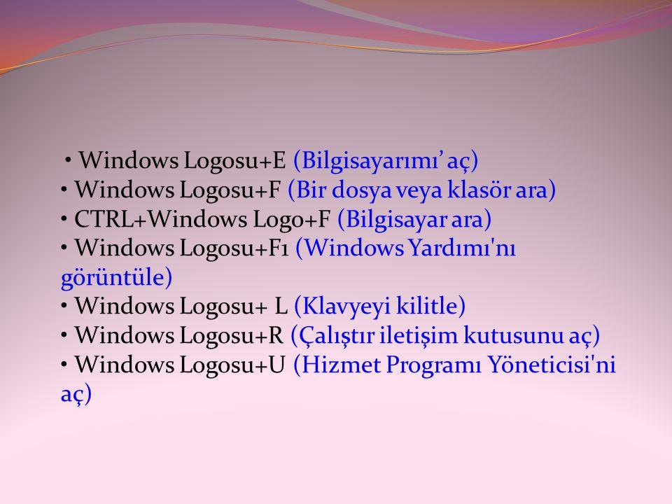 • Windows Logosu+E (Bilgisayarımı' aç) • Windows Logosu+F (Bir dosya veya klasör ara) • CTRL+Windows Logo+F (Bilgisayar ara) • Windows Logosu+F1 (Windows Yardımı nı görüntüle) • Windows Logosu+ L (Klavyeyi kilitle) • Windows Logosu+R (Çalıştır iletişim kutusunu aç) • Windows Logosu+U (Hizmet Programı Yöneticisi ni aç)