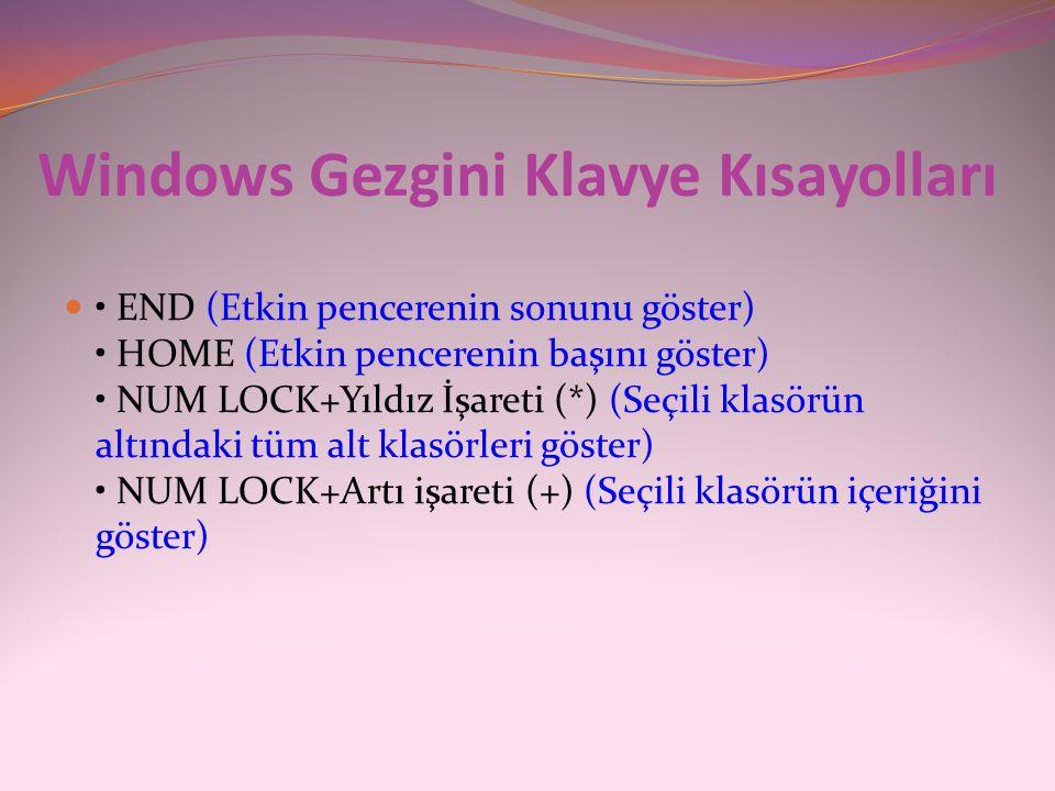 Windows Gezgini Klavye Kısayolları