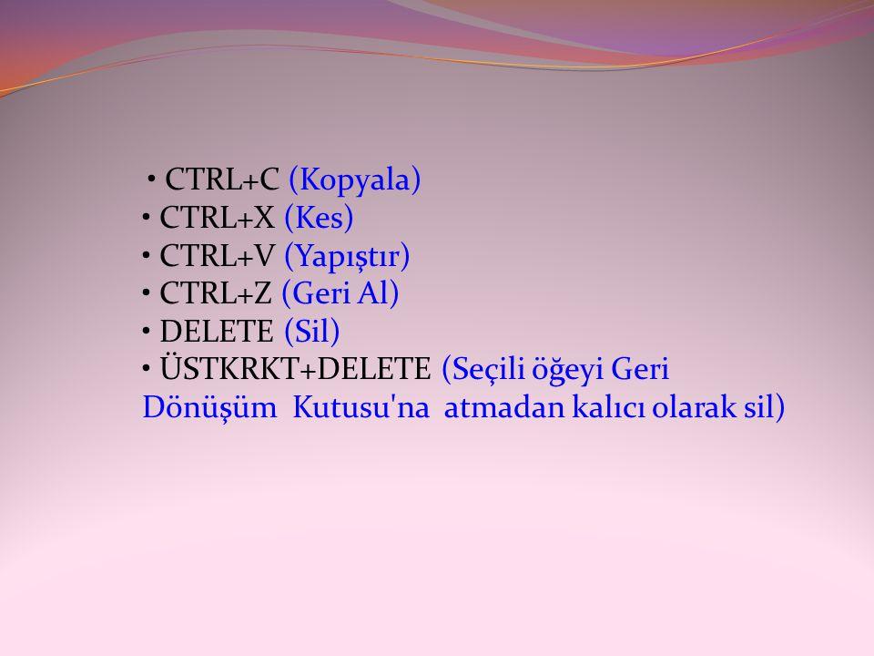 • CTRL+C (Kopyala) • CTRL+X (Kes) • CTRL+V (Yapıştır) • CTRL+Z (Geri Al) • DELETE (Sil) • ÜSTKRKT+DELETE (Seçili öğeyi Geri Dönüşüm Kutusu na atmadan kalıcı olarak sil)