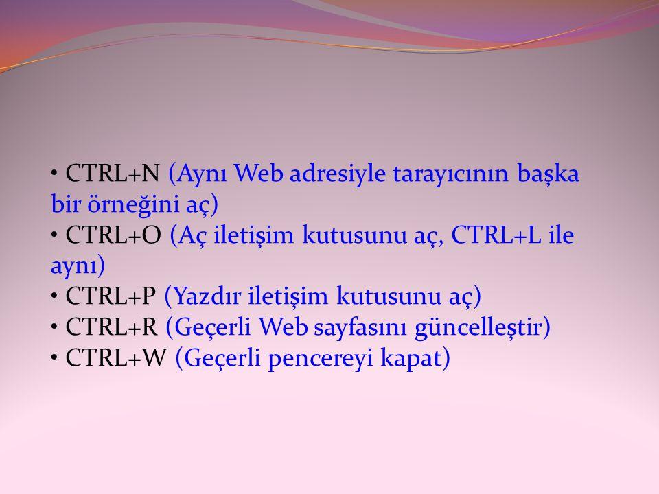 • CTRL+N (Aynı Web adresiyle tarayıcının başka bir örneğini aç) • CTRL+O (Aç iletişim kutusunu aç, CTRL+L ile aynı) • CTRL+P (Yazdır iletişim kutusunu aç) • CTRL+R (Geçerli Web sayfasını güncelleştir) • CTRL+W (Geçerli pencereyi kapat)