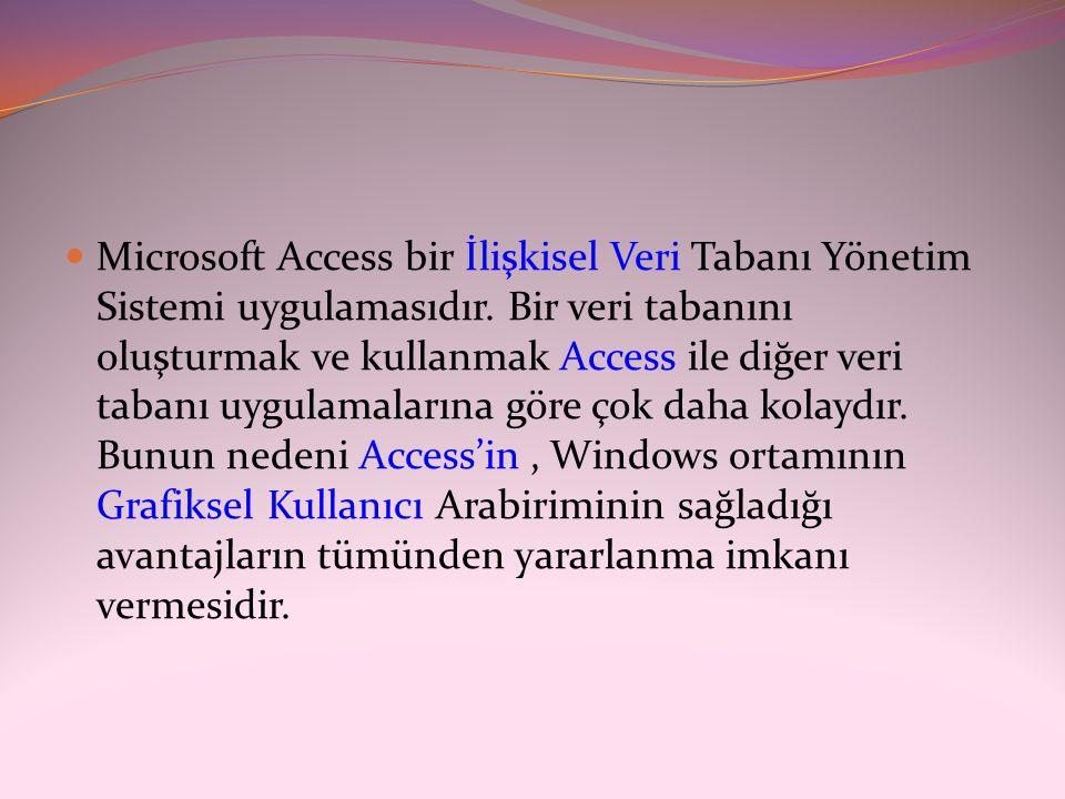 Microsoft Access bir İlişkisel Veri Tabanı Yönetim Sistemi uygulamasıdır.