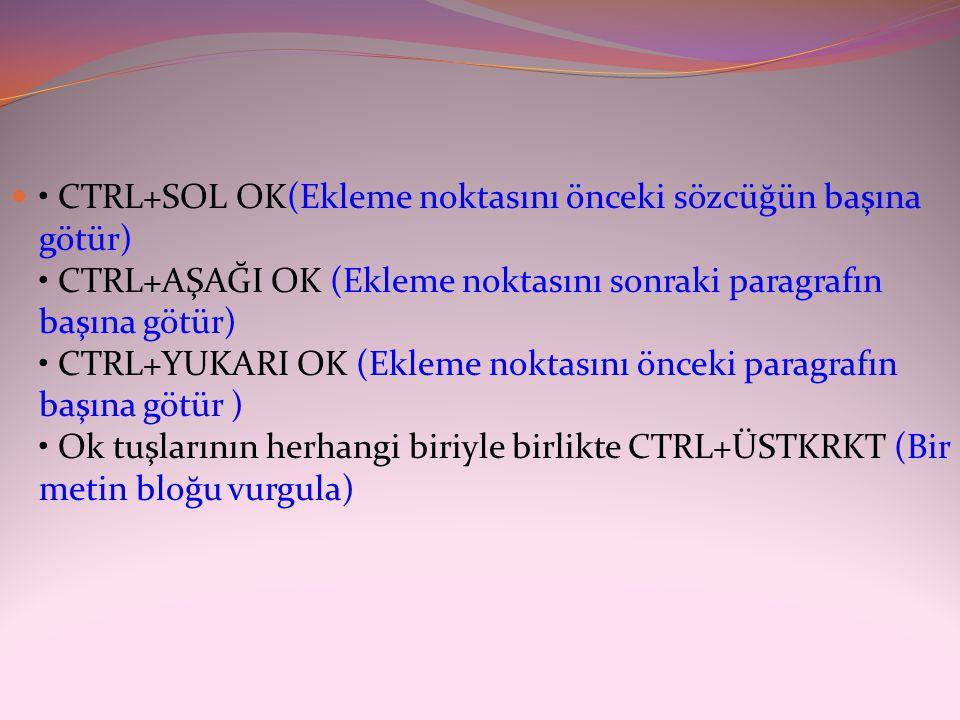 • CTRL+SOL OK(Ekleme noktasını önceki sözcüğün başına götür) • CTRL+AŞAĞI OK (Ekleme noktasını sonraki paragrafın başına götür) • CTRL+YUKARI OK (Ekleme noktasını önceki paragrafın başına götür ) • Ok tuşlarının herhangi biriyle birlikte CTRL+ÜSTKRKT (Bir metin bloğu vurgula)