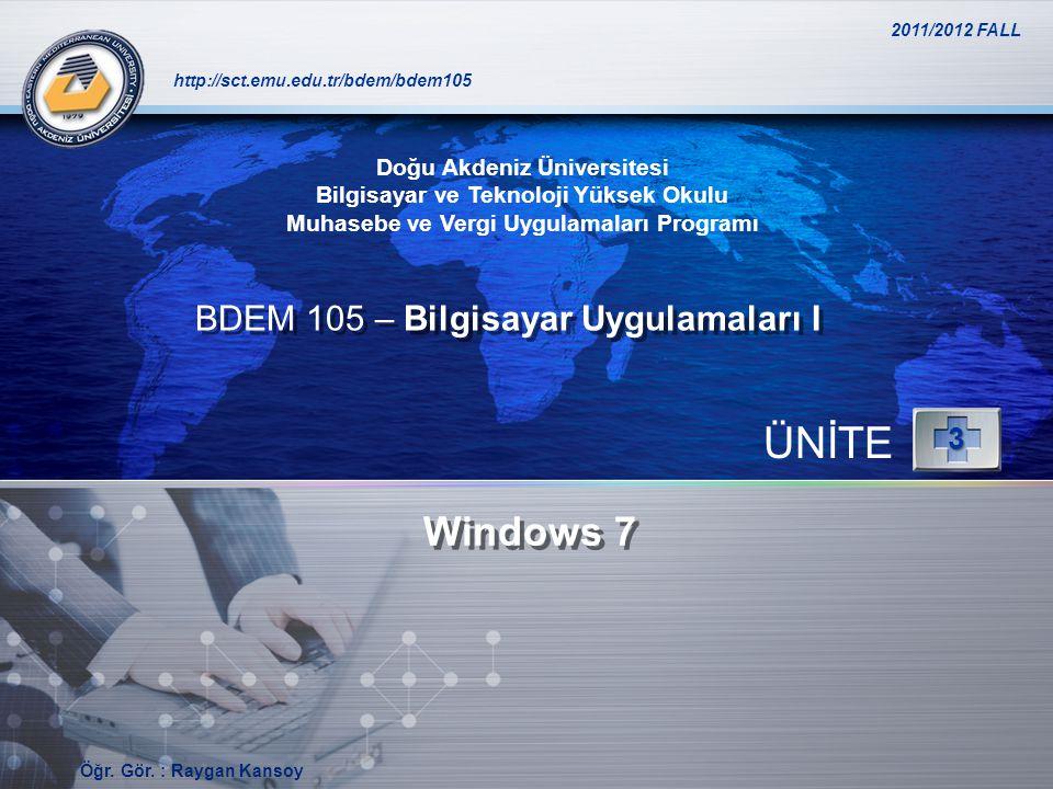 ÜNİTE Windows 7 BDEM 105 – Bilgisayar Uygulamaları I 3