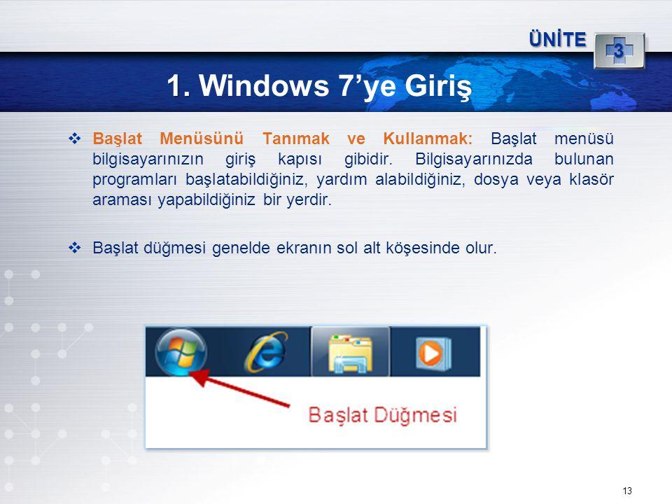 1. Windows 7'ye Giriş 3 ÜNİTE