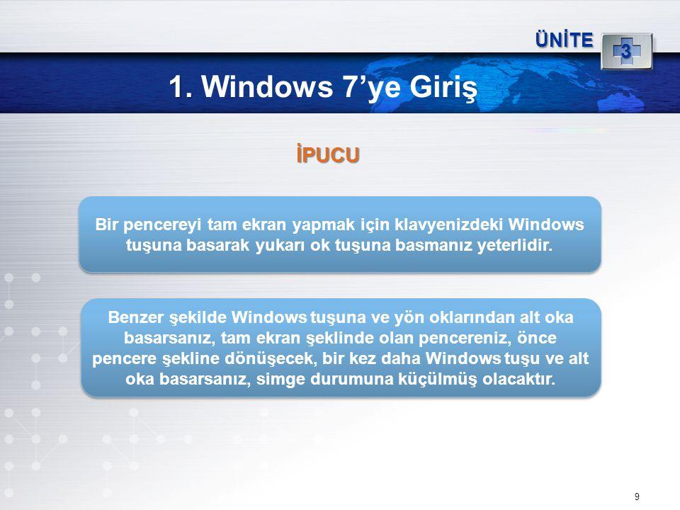 1. Windows 7'ye Giriş İPUCU 3 ÜNİTE