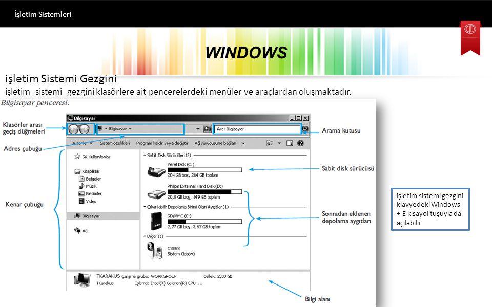 WINDOWS işletim Sistemi Gezgini