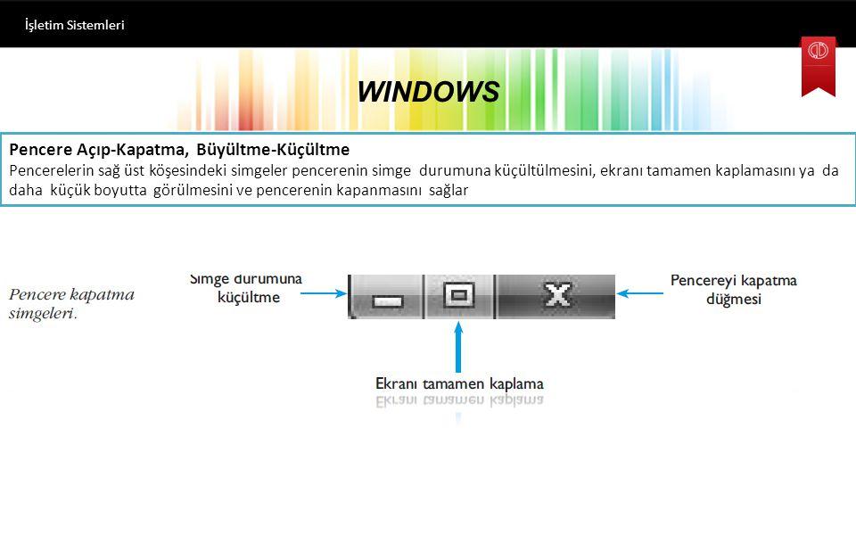 WINDOWS Pencere Açıp-Kapatma, Büyültme-Küçültme