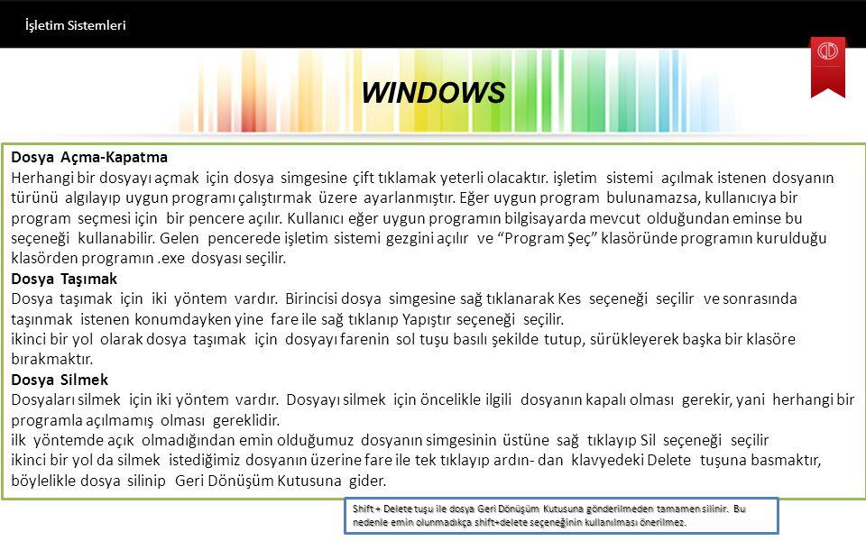 WINDOWS Dosya Açma-Kapatma