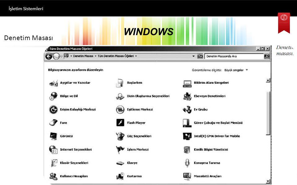 İşletim Sistemleri WINDOWS Denetim Masası