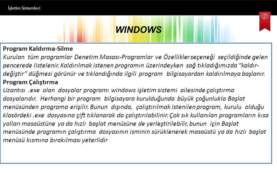 WINDOWS Program Kaldırma-Silme