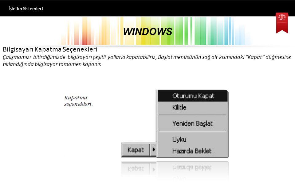WINDOWS Bilgisayarı Kapatma Seçenekleri