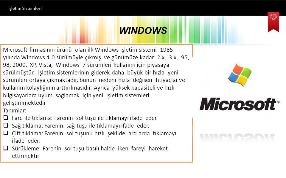 İşletim Sistemleri WINDOWS.