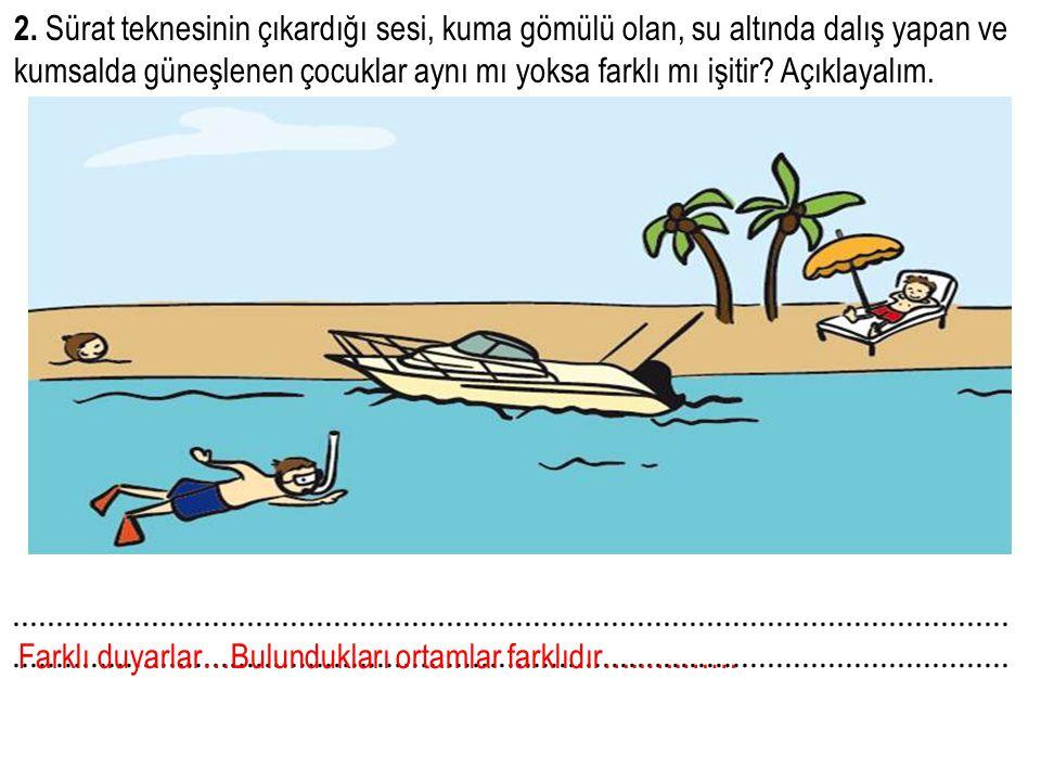 2. Sürat teknesinin çıkardığı sesi, kuma gömülü olan, su altında dalış yapan ve kumsalda güneşlenen çocuklar aynı mı yoksa farklı mı işitir Açıklayalım.