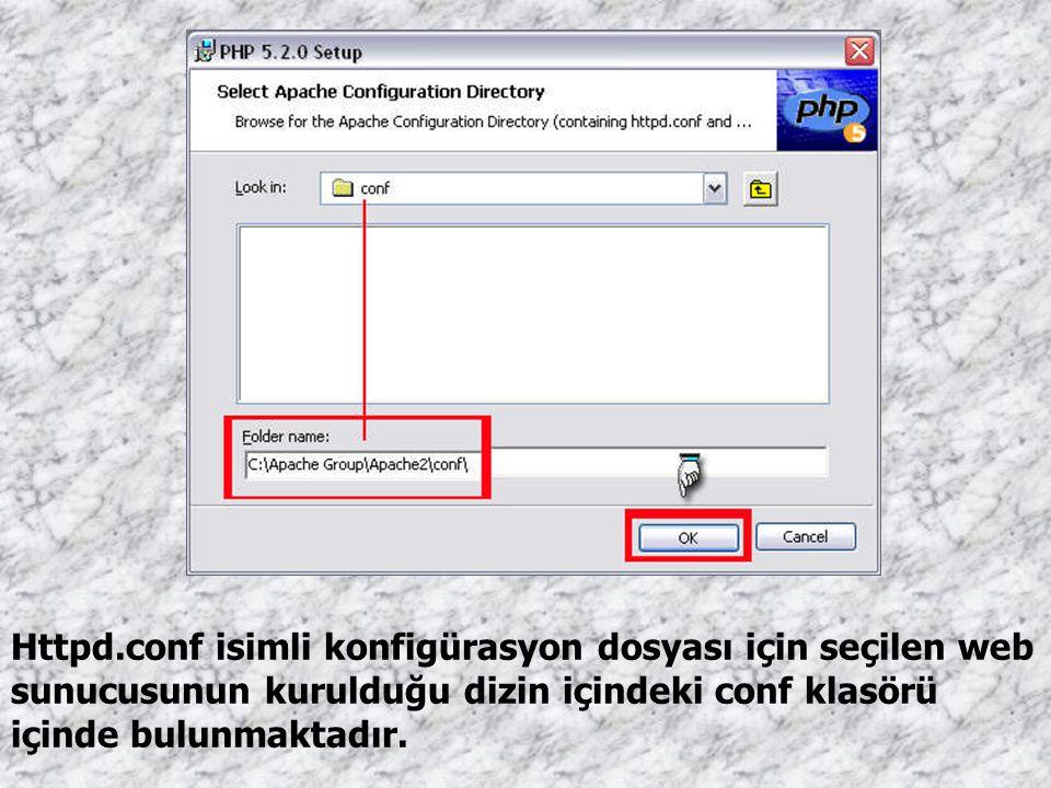 Httpd.conf isimli konfigürasyon dosyası için seçilen web sunucusunun kurulduğu dizin içindeki conf klasörü içinde bulunmaktadır.