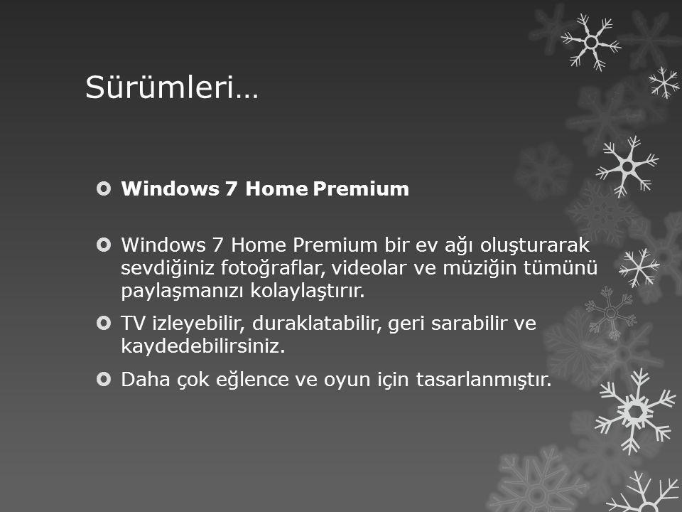 Sürümleri… Windows 7 Home Premium