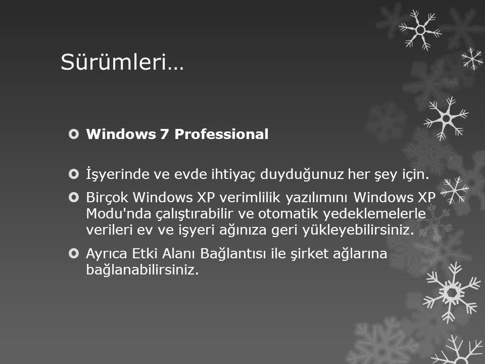Sürümleri… Windows 7 Professional