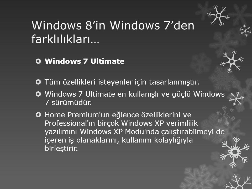 Windows 8'in Windows 7'den farklılıkları…