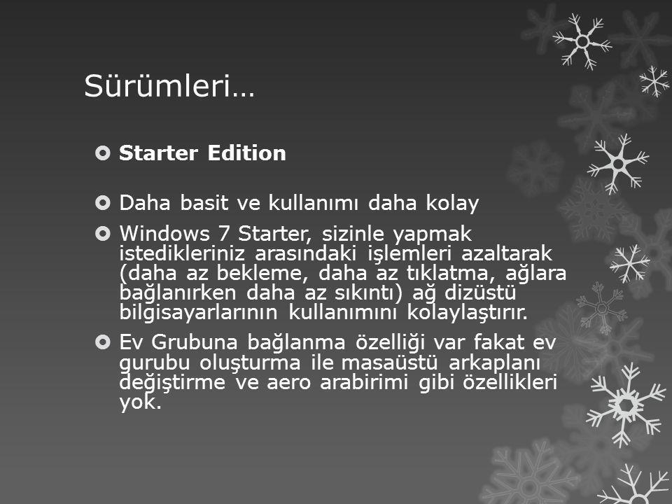 Sürümleri… Starter Edition Daha basit ve kullanımı daha kolay