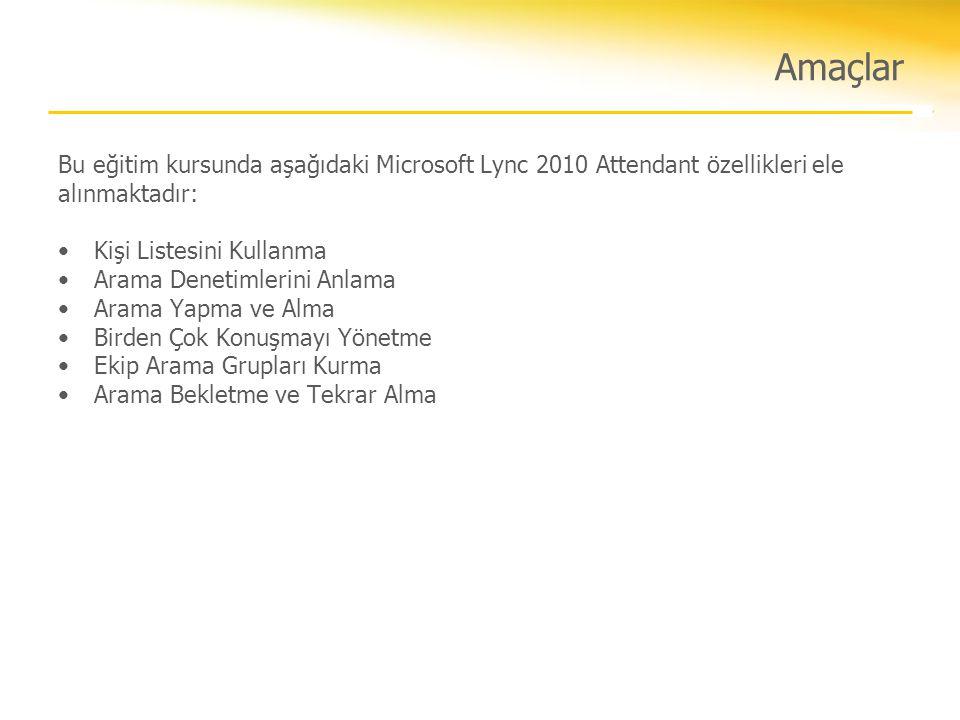 Amaçlar Bu eğitim kursunda aşağıdaki Microsoft Lync 2010 Attendant özellikleri ele alınmaktadır: Kişi Listesini Kullanma.
