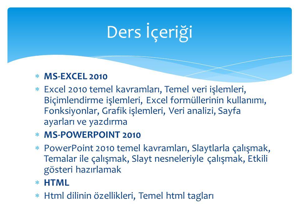 Ders İçeriği MS-EXCEL 2010.
