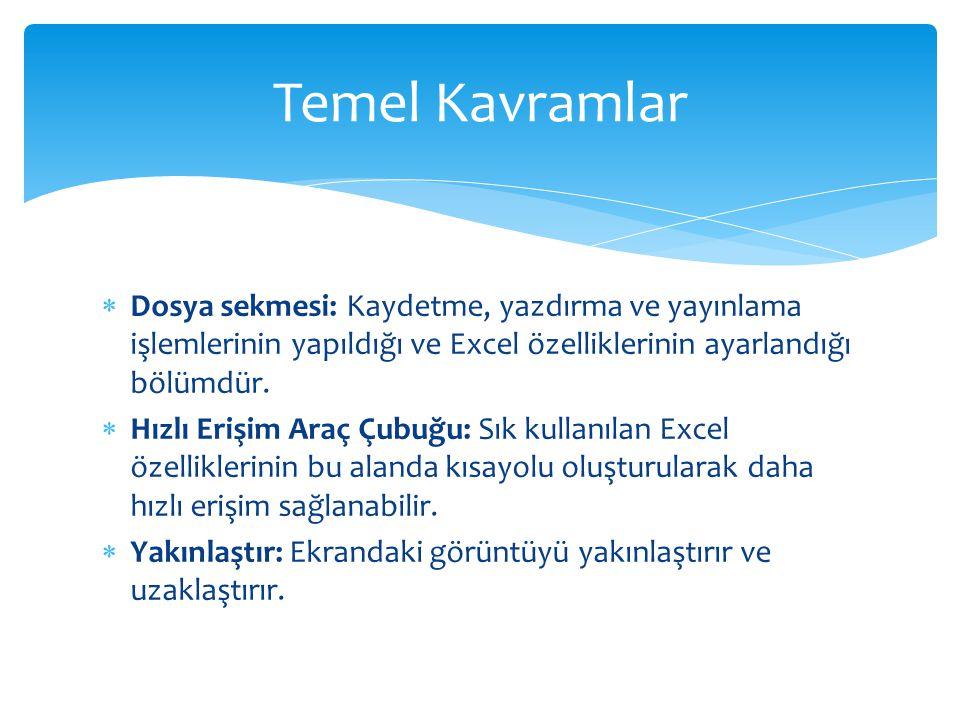 Temel Kavramlar Dosya sekmesi: Kaydetme, yazdırma ve yayınlama işlemlerinin yapıldığı ve Excel özelliklerinin ayarlandığı bölümdür.