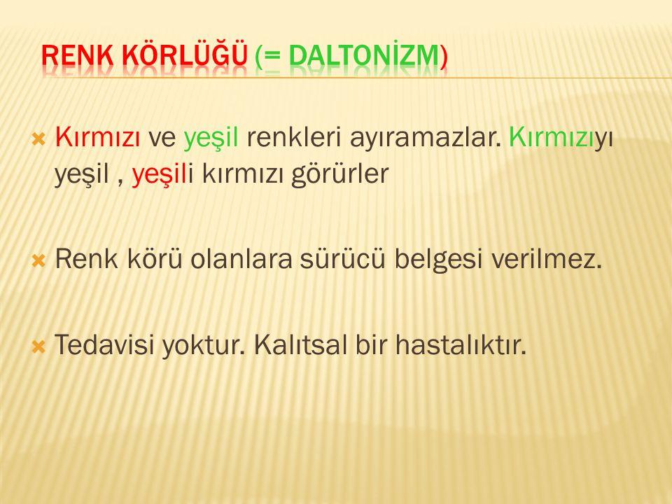 RENK KÖRLÜĞÜ (= DALTONİZM)