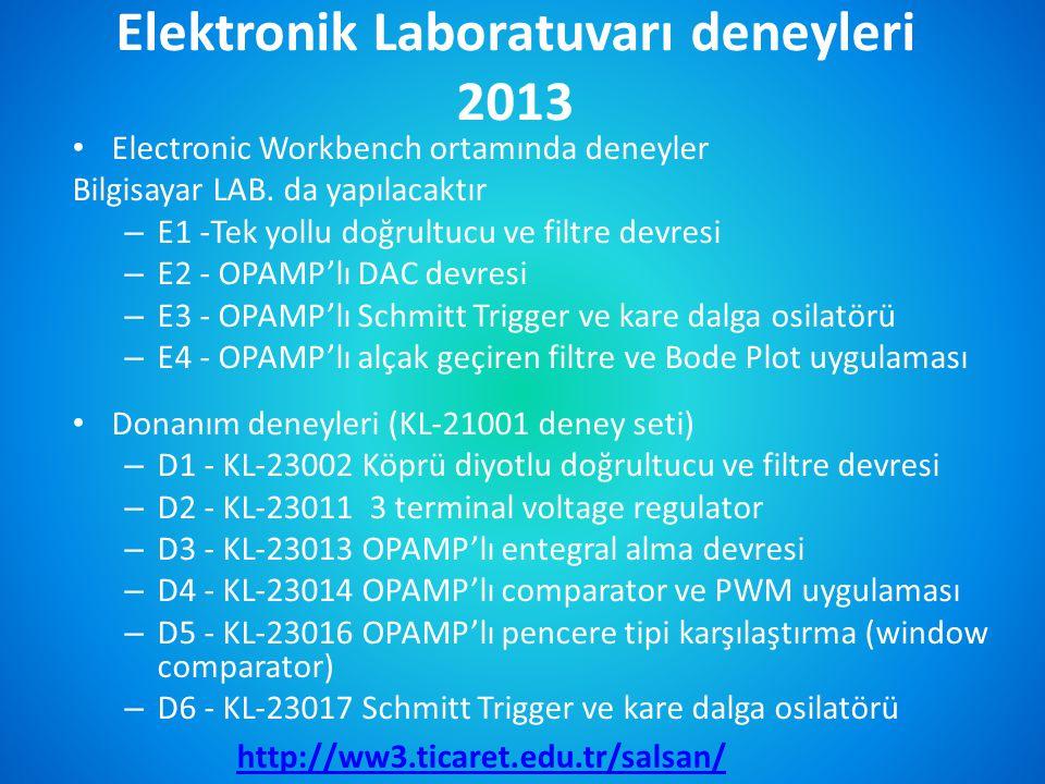 Elektronik Laboratuvarı deneyleri 2013
