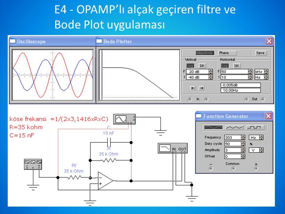 E4 - OPAMP'lı alçak geçiren filtre ve