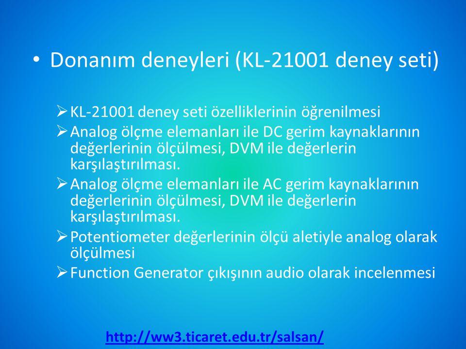 Donanım deneyleri (KL-21001 deney seti)