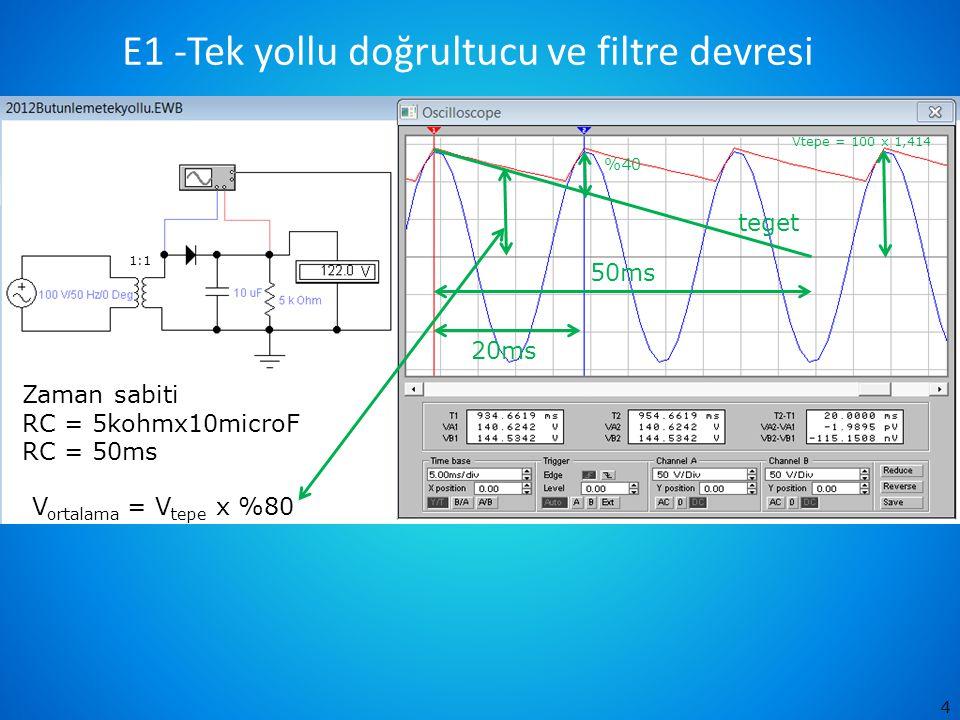 E1 -Tek yollu doğrultucu ve filtre devresi