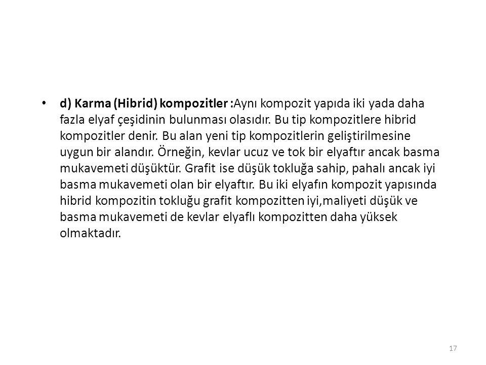 d) Karma (Hibrid) kompozitler :Aynı kompozit yapıda iki yada daha fazla elyaf çeşidinin bulunması olasıdır.
