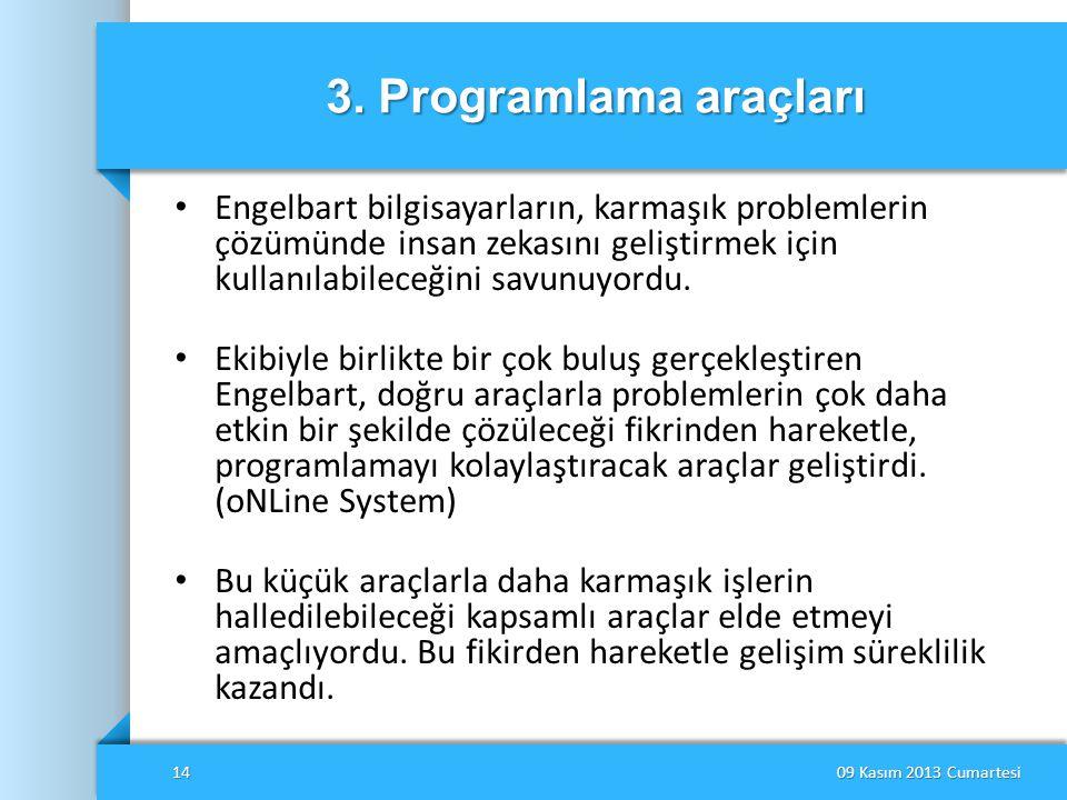 3. Programlama araçları Engelbart bilgisayarların, karmaşık problemlerin çözümünde insan zekasını geliştirmek için kullanılabileceğini savunuyordu.