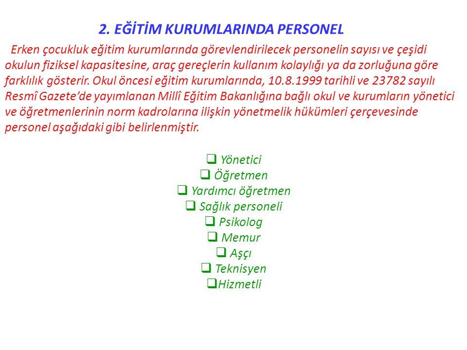 2. EĞİTİM KURUMLARINDA PERSONEL