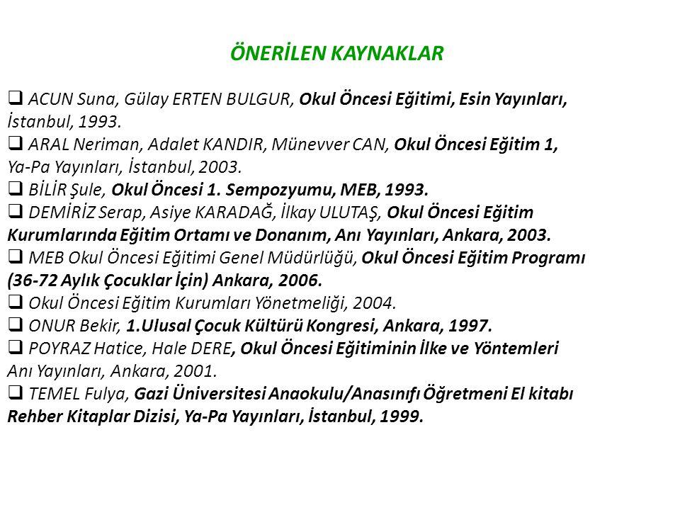 ÖNERİLEN KAYNAKLAR ACUN Suna, Gülay ERTEN BULGUR, Okul Öncesi Eğitimi, Esin Yayınları, İstanbul, 1993.