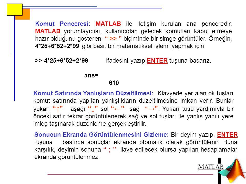 Komut Penceresi: MATLAB ile iletişim kurulan ana penceredir