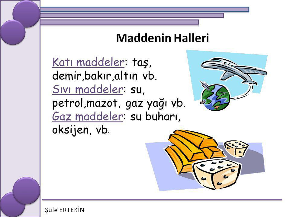 Maddenin Halleri Katı maddeler: taş, demir,bakır,altın vb.