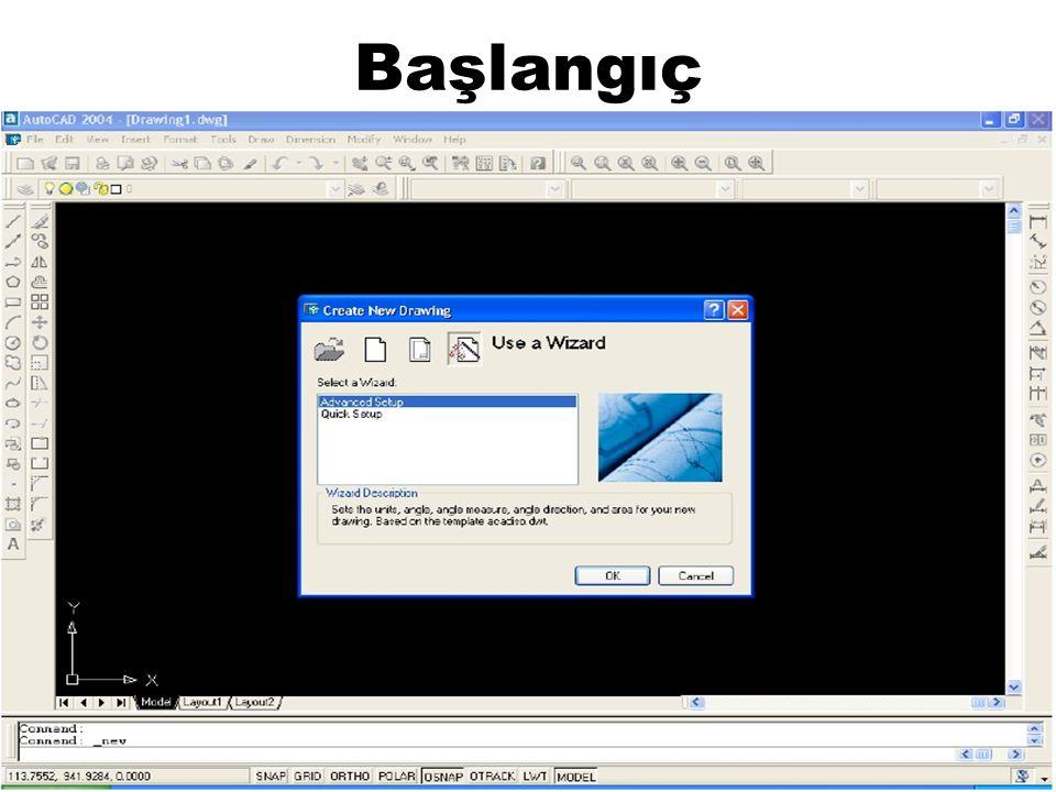 Başlangıç AutoCad programını çalıştırdığımızda karşımıza aşağıdaki gördüğünüz ekran gelir.