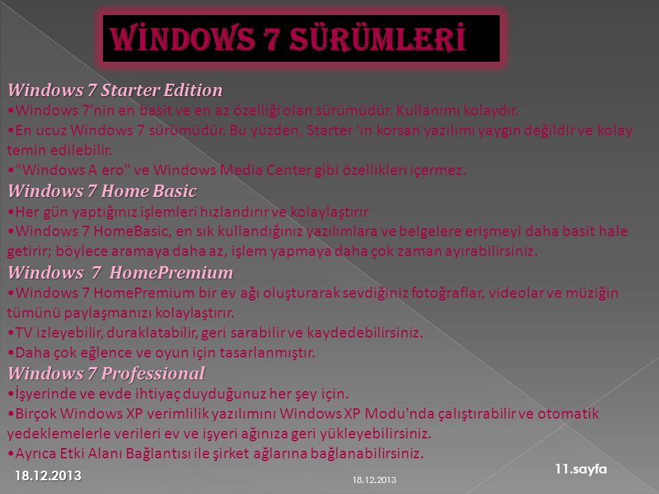 WİNDOWS 7 SÜRÜMLERİ Windows 7 Starter Edition Windows 7 Home Basic