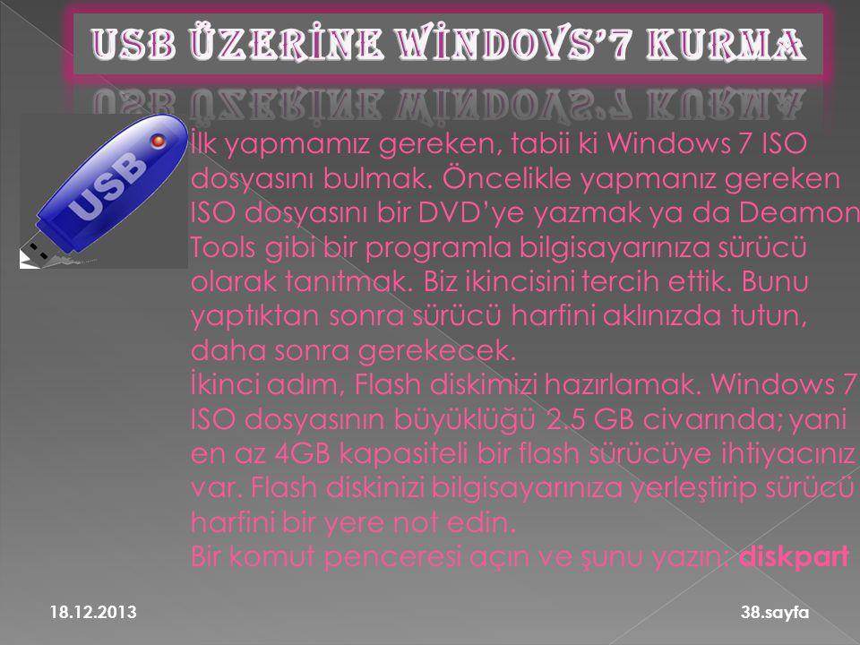 USB ÜZERİNE WİNDOVS'7 KURMA