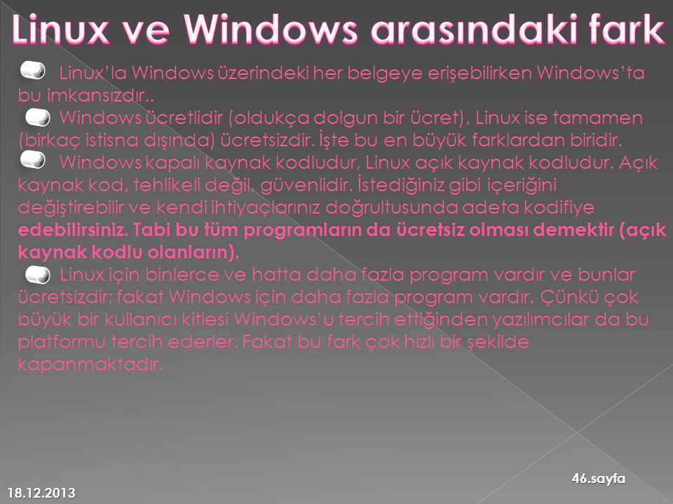 Linux ve Windows arasındaki fark
