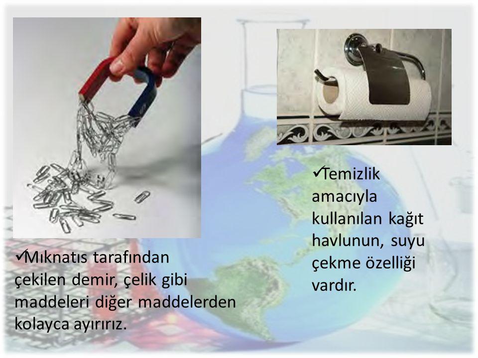 Temizlik amacıyla kullanılan kağıt. havlunun, suyu. çekme özelliği vardır. Mıknatıs tarafından.
