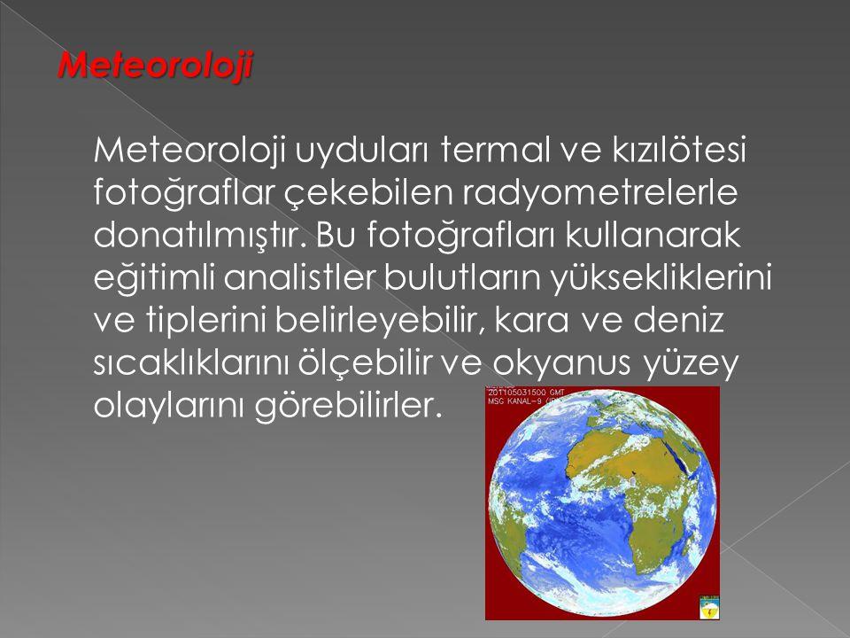 Meteoroloji Meteoroloji uyduları termal ve kızılötesi fotoğraflar çekebilen radyometrelerle donatılmıştır.