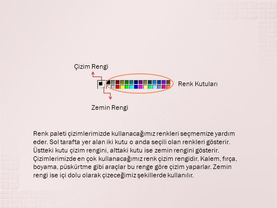 Çizim Rengi Renk Kutuları. Zemin Rengi.